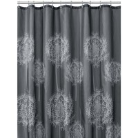 InterDesign Dandelion Shower Curtain, Charcoal, 72-Inch by 72-Inch