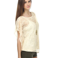 Romantic Beige Lace Top - $57.00