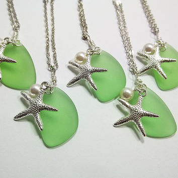 Green Sea Glass Necklace Bridesmaid Necklace Beach Wedding Bridal Party Jewelry Peridot Starfish Necklace Pearl Necklace Gift For Women