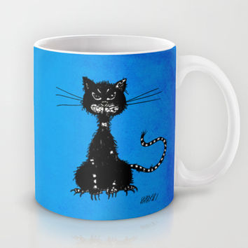 Ragged Evil Black Cat (blue) Mug by Boriana Giormova | Society6