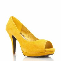 suede peep-toe pumps $25.30 in BLACK CORAL NUDE TURQUOISE YELLOW - Heels | GoJane.com