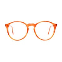 Orange Brown Transparent Round Vintage Eyeglasses - Alpin