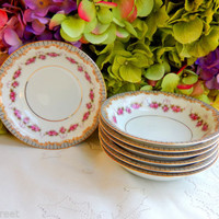 7 Beautiful Vintage Noritake Porcelain Dessert Bowls ~ Rose Swags ~ Scrolls