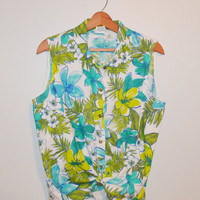 Vintage 80s Shirt Tropical Print Sleeveless Shirt Button Up Linen Shirt Green and Blue Floral Print Size Large
