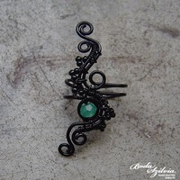 After rain wire wrapped ear cuff with aventurine by bodaszilvia