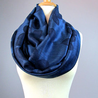 Navy scarf, dark blue infinity scarf, floral pattern, fashion scarf