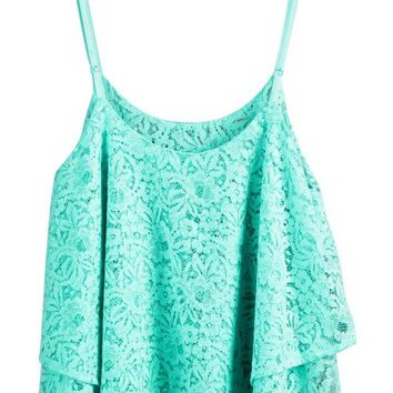 Lookbookstore Women Lace Double Layers Adjustable Shoulder Straps Crop Top Tank