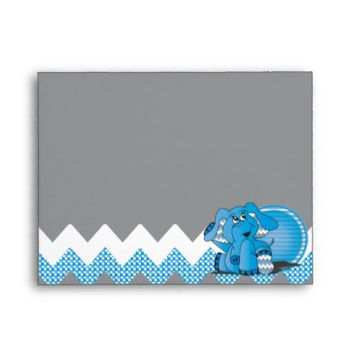 Cute Funny Chevron Blue Elephant Envelope