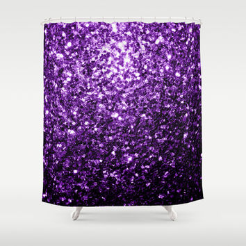 Beautiful Purple glitter sparkles Shower Curtain by PLdesign