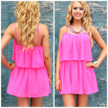 Willow Lake Fuchsia Chiffon Tank Dress