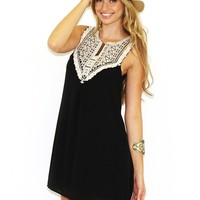 West Coast Wardrobe Love Addicted Crochet Sleeveless Dress in Black | Boutique To You