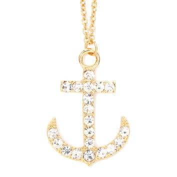 Rhinestone Anchor Pendant Necklace