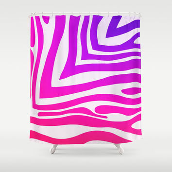 Colorful Zebra Print Shower Curtain by KCavender Designs