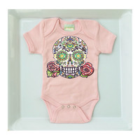 Pink Skull and Roses Rockabilly Romper. 3 or 6 months. Trendy One-piece Baby Clothes. Soft Blush Bodysuit Creeper. Cute Infant Girl Jumper