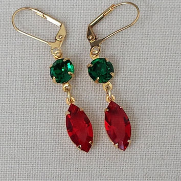 Siam Red and Emerald Earrings made with Vintage Swarovski Crystals, Classic Hollywood, Retro Glam, Vintage Inspired, Christmas Earrings