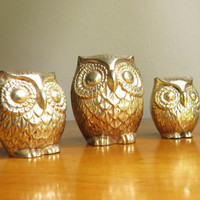 Vintage Brass Owl Figurines Gold Owl Statues Three Gold Owls Brass Animal Paperweights Set