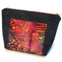 Make Up Bag Denim Colorful Batik Blue Orange | kathisewnsew - Bags & Purses on ArtFire