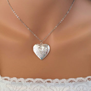 Heart Locket Necklace Silver Plated Heart Photo Locket Filigree Engraved Heart Bride Gift Wedding Anniversary Gift For Women