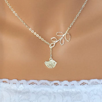 Bird and Leaf Necklace Lariat Necklace Silver Easter Silver Plated Bird Friendship Gift Wedding Jewelry Mother's Day