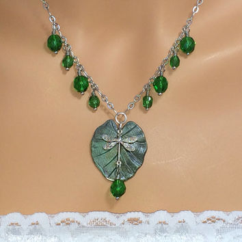 Emerald Necklace Dragonfly Necklace Leaf Necklace Friendship Gift Crystal Necklace Gift For Women