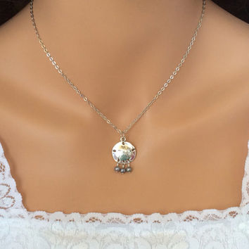 Sand Dollar Necklace Silver Fresh Water Pearls Bridesmaid Jewelry Friendship Gift Pearl Necklace Beach Jewelry
