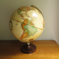 Vintage Replogle World Globe, World Classic Series, Antique Color Globe, 12 inch Diamenter Globe, Brown Wood Stand