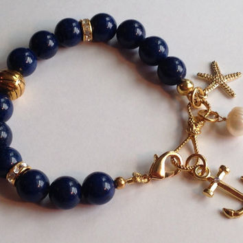 OOAK Rare Egyptian Lapis Lazuli Gemstone Anchor Starfish Pearl Gold Bracelet