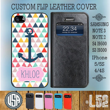 Custom name anchor Leather Flip Cover @ Samsung Galaxy S4 case Samsung S3 cover , Samsung Note 3 Note 2 , IPhone 5 5S , IPhone 4 4S L52