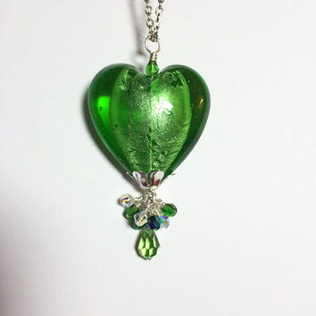Heart Necklace Peridot Necklace Victorian Green Glass Lampwork Birthday Gift Green Jewelry