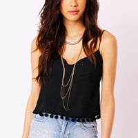 Bev Cropped Cami Top with Fringe in Black