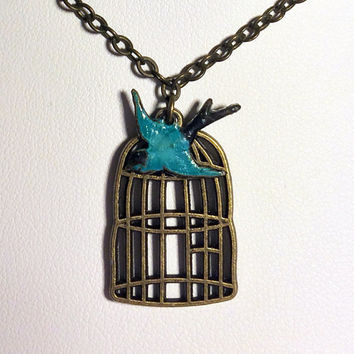 Antiqued Brass Bird Necklace Birdcage Necklace Friendship Gift Turquoise Friendship Gift