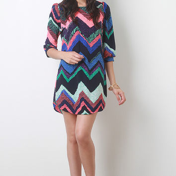 Abstract Chevron Shift Dress