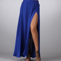 Royal Blue Maxi Skirt with Side Slit