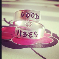 Good vibes ring sun inside  hand stamped aluminum spiral  ring