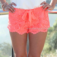 ONE FINE DAY LACE SHORTS , DRESSES, TOPS, BOTTOMS, JACKETS & JUMPERS, ACCESSORIES, 50% OFF , PRE ORDER, NEW ARRIVALS, PLAYSUIT, COLOUR, GIFT VOUCHER,,SHORTS,Print,LACE,Orange,MINI Australia, Queensland, Brisbane