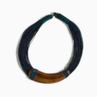 Blue Leather-and-Horn Necklace | Shop | Project Bly