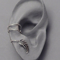 Silver Leaf EAR CUFF  New Leaf Swirly Sterling by SunnySkiesStudio