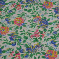 Bright Floral Vintage Fabric with Pink, Blue & Yellow Flower Pattern - 1 YARD 33 INCHES