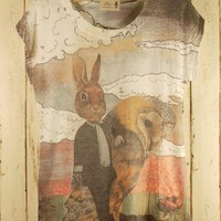 Mr. Rabbit Retro Print T-shirt - Retro, Indie and Unique Fashion
