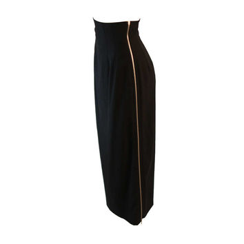 Commes Des Garcon High Waist Black Full Zipper Skirt Size S