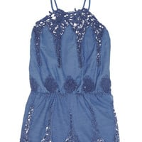 Miguelina | Cicely crocheted cotton-blend playsuit | NET-A-PORTER.COM