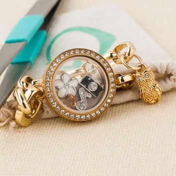 New Origami Owl Gold P Chains Bracelet & Floating Living Twist Locket & Charms
