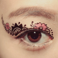 1 Pair Eye Fake Temporary Tattoo Holiday Makeup Eyeshadow Black Rose Sakura dancer Stage Club Masquerade Cocktail Valentine Gift Party