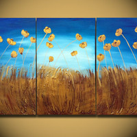 Poppies Painting ORIGINAL Large Abstract Free Shipping by OritArt