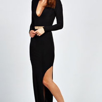 Tilly Plunge Neck Slinkly Maxi Dress