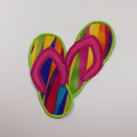 Bright Color Flip Flops Iron On Appliqué Patch