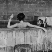 Actor Steve McQueen and Wife Taking Sulfur Bath at Home Premium Photographic Print by John Dominis at Art.com