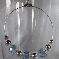 Blue Crystal Large Hoop Silver Plated Earring Rita Rocker Collection | 123gemstones - Jewelry on ArtFire