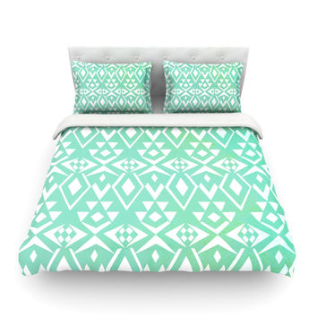"Pom Graphic Design ""Ancient Tribe"" Seafoam Cotton Duvet Cover"