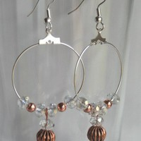 Crystal & Copper Beaded Hoop Earrings | 123gemstones - Jewelry on ArtFire